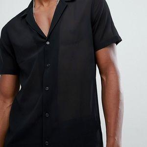 ASOS Sheer Deep V Short Sleeved Shirt